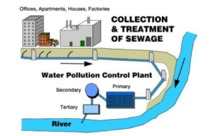 diagram of collection and treatment of sewage