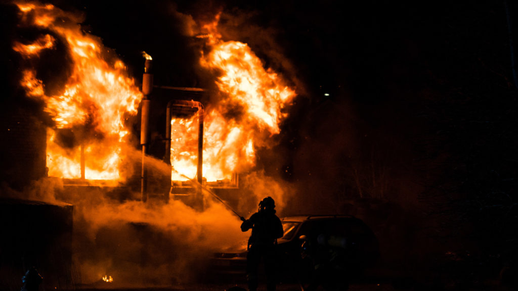building on fire after due to arson attack